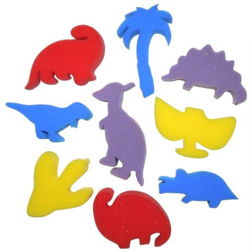 Sponge Painting Shapes - Dinosaurs